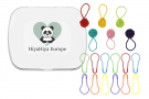 Notion Tin with Coloured Yarn Ball Stitch Markers and Knitter's Safety Pins