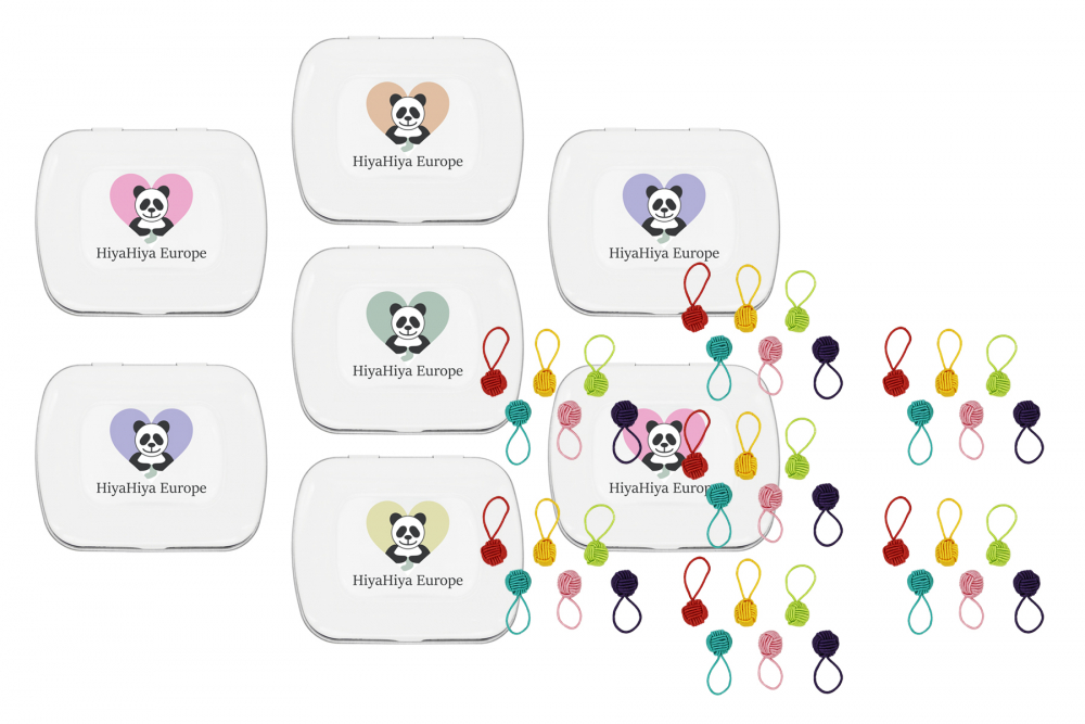 Notion Tin with Coloured Yarn Ball Stitch Markers Bundle, Image-0
